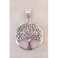 Obesek Yggdrasil - Drevo življenja, posrebreno, ⌀ 3 cm