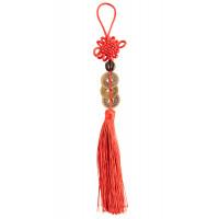 Amulet za srečo trije kitajski kovanci na rdeči vrvici z vozlom