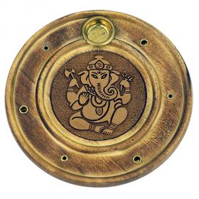 Podstavek za dišeče palčke in stožce Ganeš, okrogel, lesen