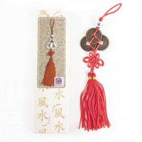 Amulet za srečo trije kitajski kovanci na rdeči vrvici